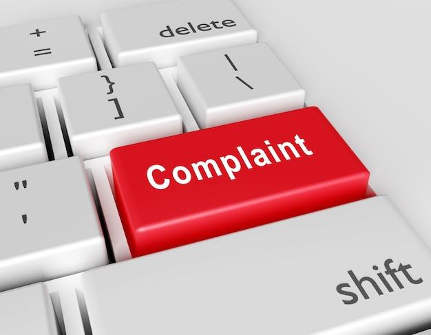 Слово жалоба написано на клавиатуре компьютера. концептуальное изображение на компьютере ключ enter