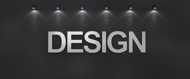 실버 문자로 검은 벽에 쓰여진 단어 디자인.