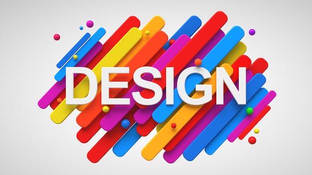 다채로운 기하학적 3d 도형 위에 쓰여진 단어 디자인.