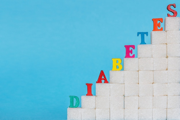 Word diabetes on ladder refined sugar