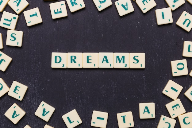 Word dreams in scrabble letters from above