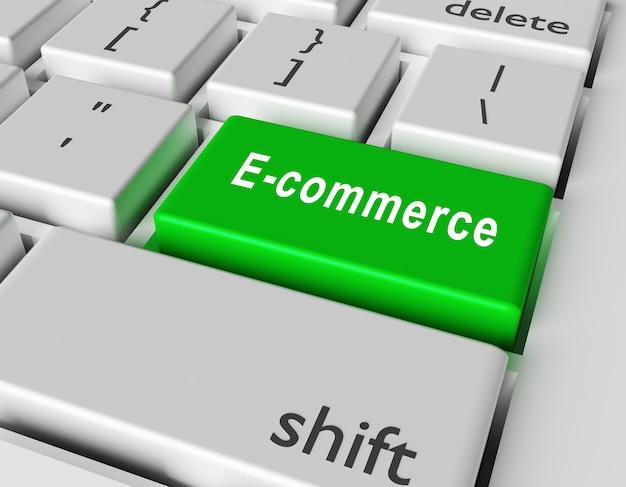 Слово электронной коммерции на кнопке компьютерной клавиатуры