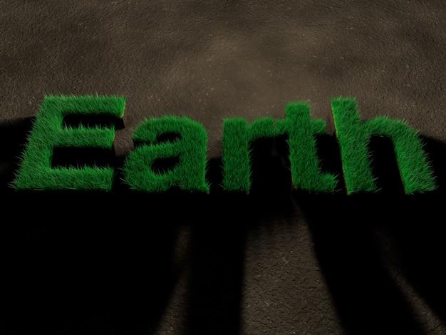 土の上の草で作られた文字で綴られた単語地球。自然を救うというコンセプト。
