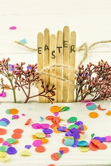 The word easter in the conceptual block text on wooden sticks