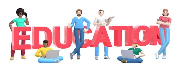 Слово образование. группа молодых многокультурных успешных людей с ноутбуком, планшетом, телефоном.