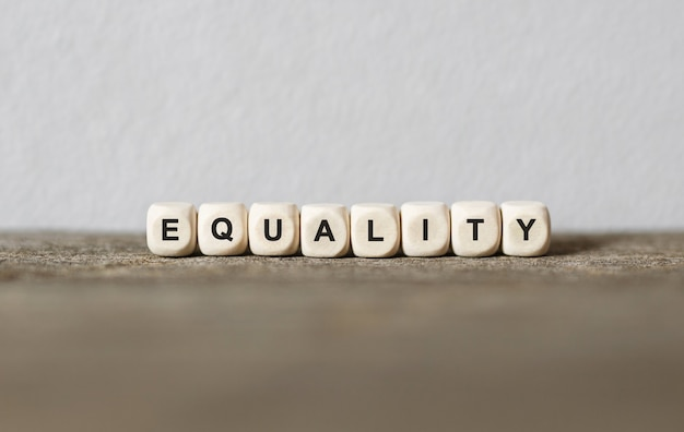 Word equality made with wood building blocks,stock image