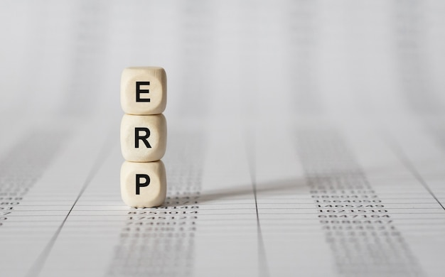 Word erp made with wood building blocks, stock image