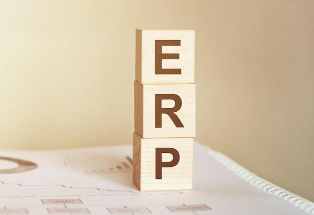 목재 빌딩 블록으로 만든 단어 erp