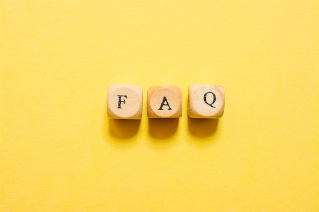 The word faq, text made with dice