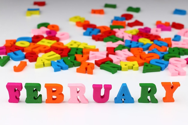 The word february with colored letters