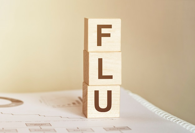 Word flu made with wood building blocks