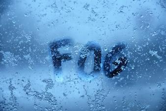 Word Fog on frozen window