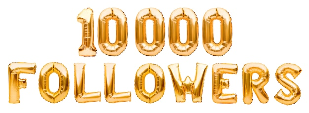 Word followers made of golden inflatable balloons isolated