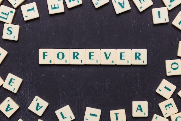 Word forever in scrabble letters over black backdrop