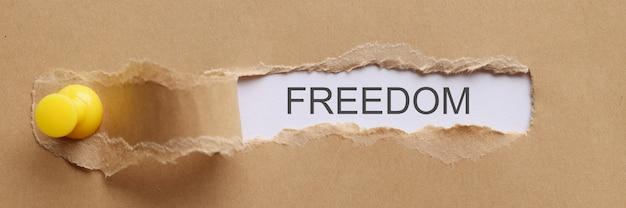 言葉の自由は破れた紙のクローズアップに書かれています