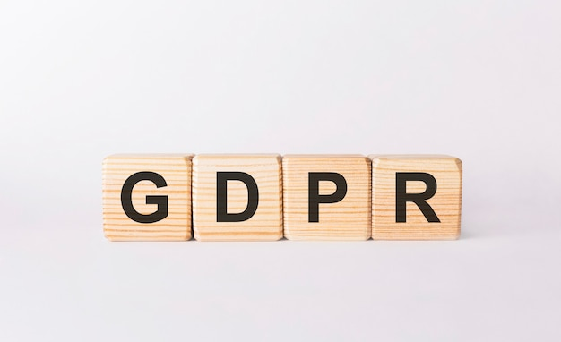 Word gdpr made from wooden blocks on white background