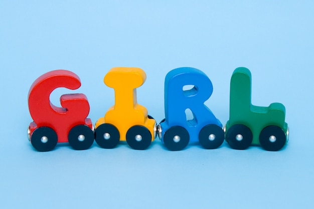 Word girl made of letters train alphabet.