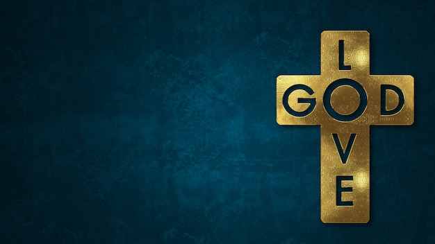 The word god love concept written in gold texture on wooden background.