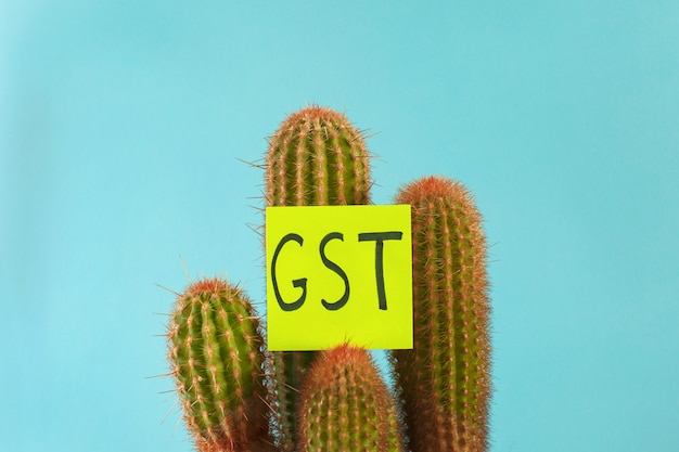 The word gst tax on goods and services on a prickly cactus on blue