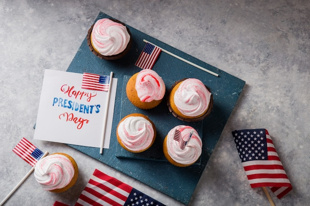 Word happy presidents day. patriotic baking supply cup cake holders for holiday and july 4th concepts.