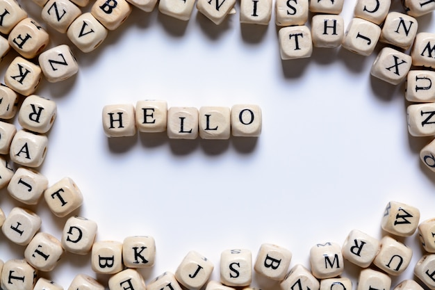 The word hello from wooden letters on a white background