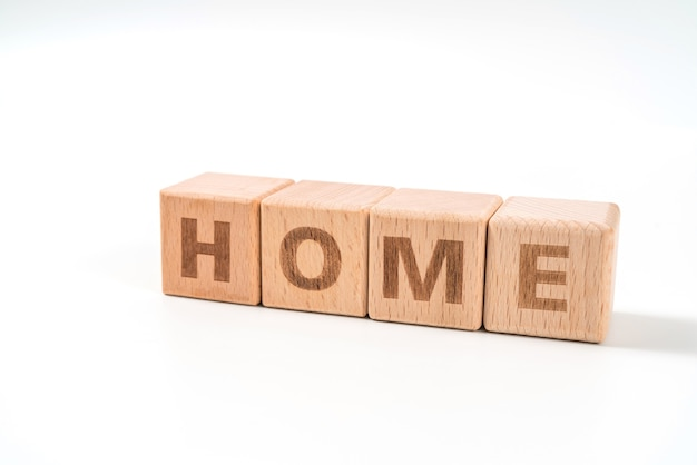 Word home on wood cube dices