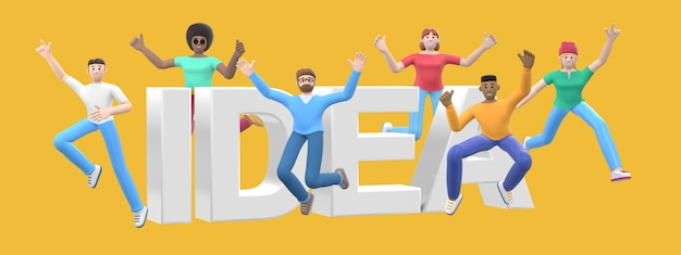 The word idea. group of young multicultural happy people jump and dance together. cartoon character and website slogan. 3d rendering.