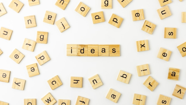 Word 'idea' made from wooden letters. for inspiration background