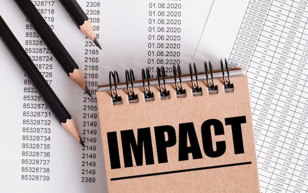 The word impact is written on the brown notebook.