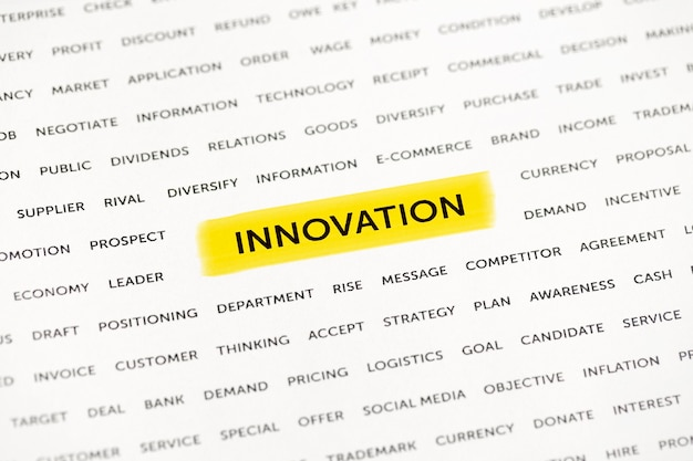 The word innovation is highlighted with a marker on paper