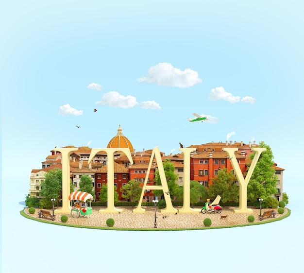 유럽 도시의 오래된 건물이있는 광장에 단어 이탈리아
