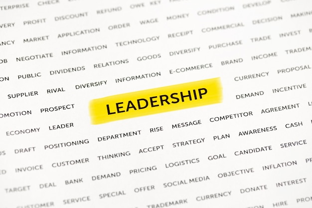 The word leadership is highlighted with a marker on paper