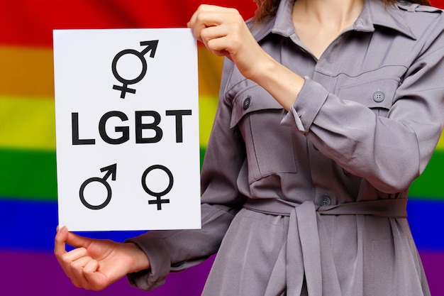 The word lgbt with signs of a masculine, feminine and transgender