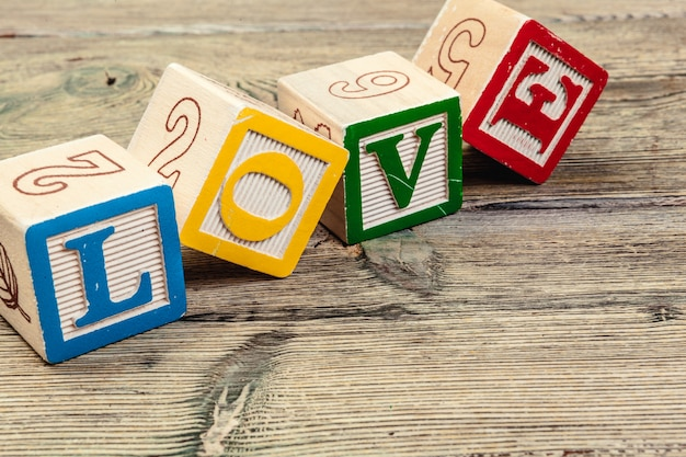 Word love from children's wooden blocks