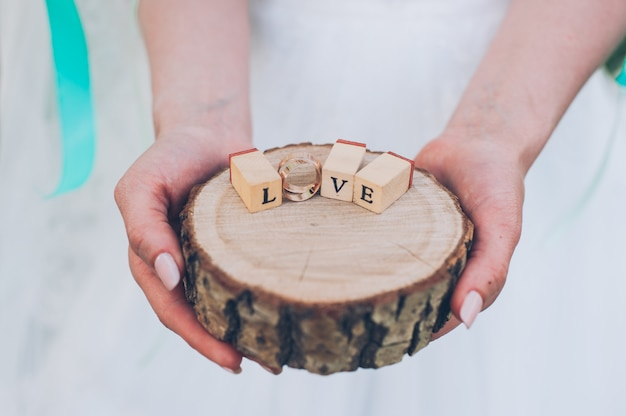 Word love from wooden cubes contained