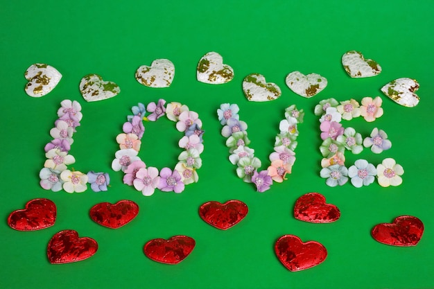 The word love is lined with letters on a clean green background with colorful flowers at the bottom of the frame. flowers from above lie in a line