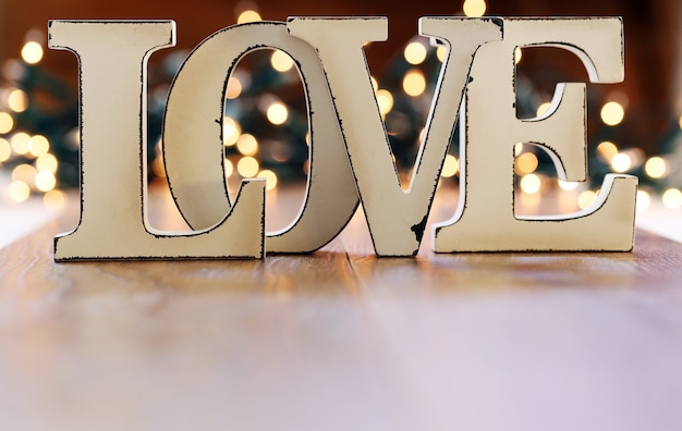 Word love and lights garland