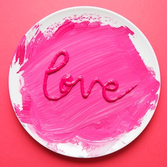 Word love made with paint