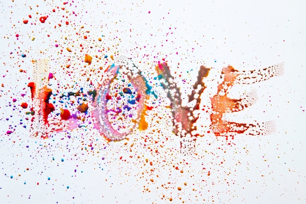 Word love made with watercolor droplets