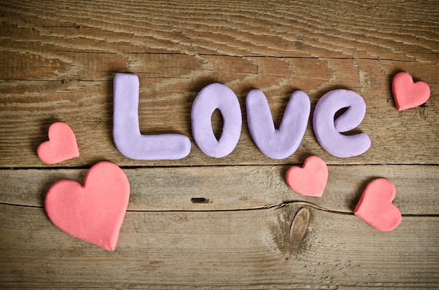 Word love and many hearts
