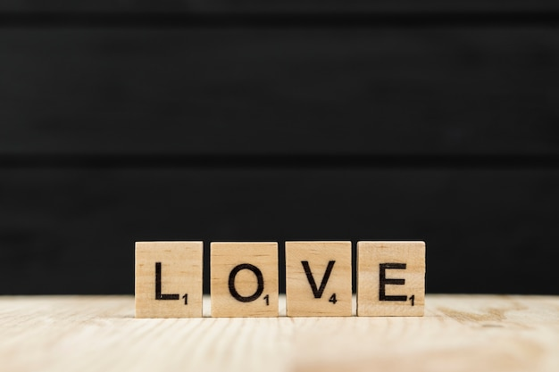The word love spelt with wooden letters