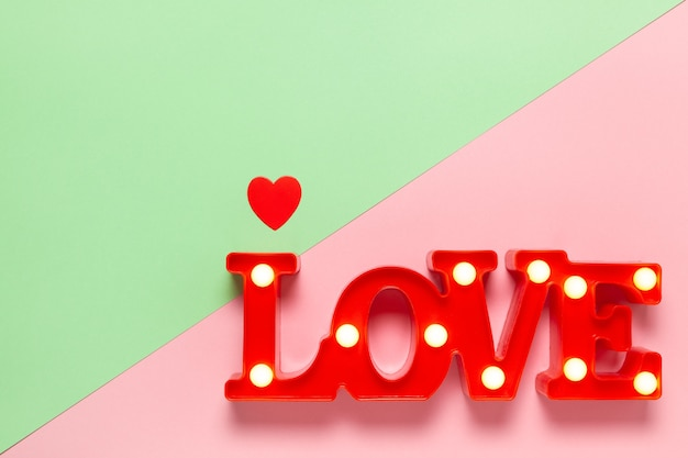 Word love with polka dot style and copy space, top view