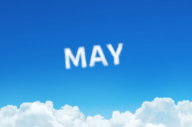 Word may made of clouds steam on blue sky background. month planning, timetable concept.