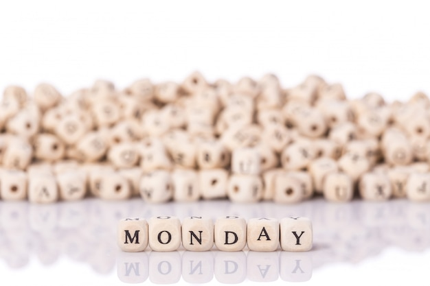 Word monday with wooden blocks