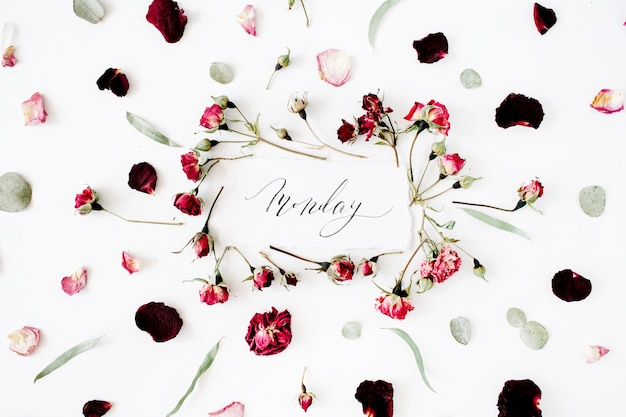 Word monday written in calligraphy style on paper with pink, red roses, eucalyptus and leaves on white