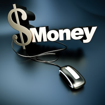 コンピュータのマウスに接続された金属のテクスチャのドル記号と単語のお金