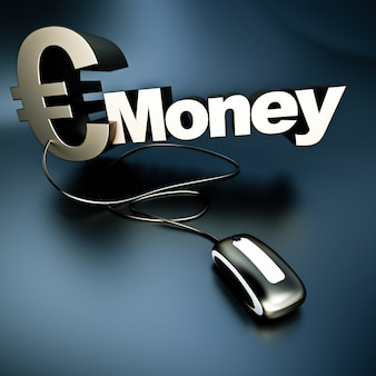 コンピュータのマウスに接続された金属のテクスチャのユーロ記号と単語のお金