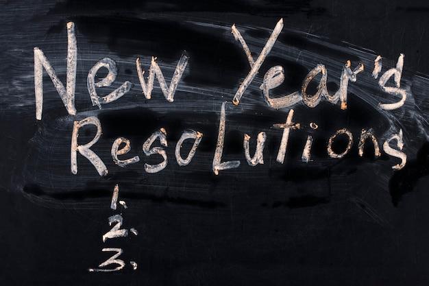 The word new year's resolution written on the blackboard.