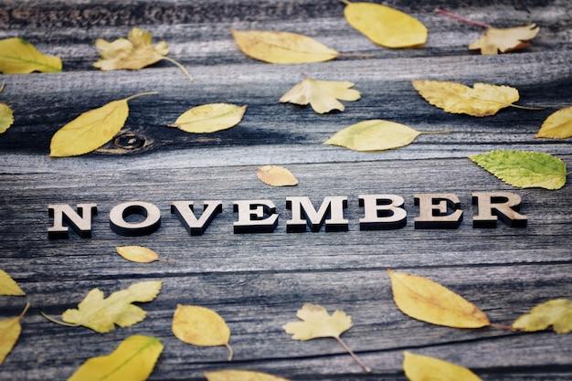 단어 11 월, 나무 글자