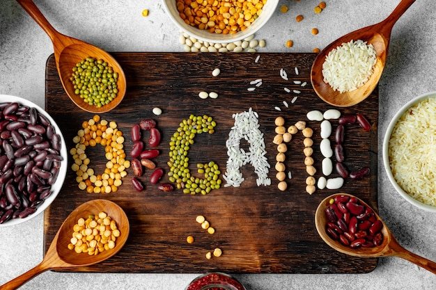 Word organic made of mix of grains and beans